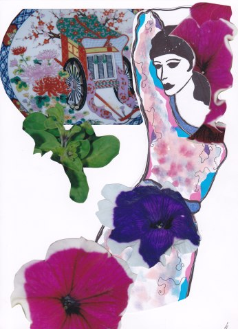 Woman with caravan and petunias